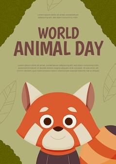 손으로 그린 평면 세계 동물의 날 세로 포스터 템플릿