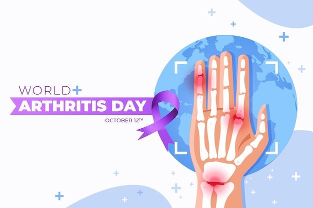 手描きフラット世界関節炎の日の背景