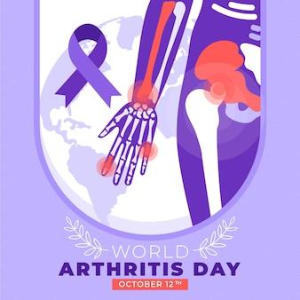 手描きフラット世界関節炎の日のイラスト