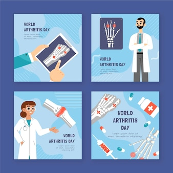 手描きフラット世界関節炎の日instagramの投稿コレクション