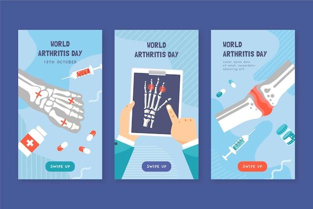 手描きフラット世界関節炎の日instagramストーリーコレクション