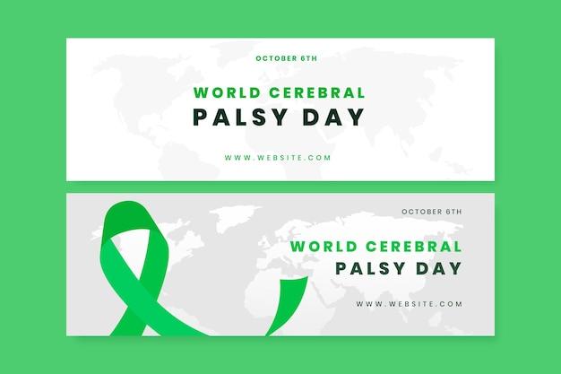 Set di banner orizzontali per la giornata mondiale della paralisi cerebrale piatta disegnata a mano