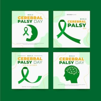Collezione di post di instagram per la giornata mondiale della paralisi cerebrale piatta disegnata a mano