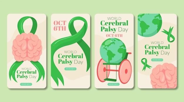 Collezione di storie di instagram per la giornata mondiale della paralisi cerebrale piatta disegnata a mano
