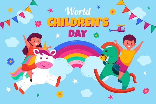 Fondo piatto disegnato a mano del giorno dei bambini del mondo