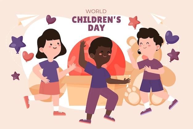 Fondo piatto disegnato a mano del giorno dei bambini del mondo Vettore gratuito
