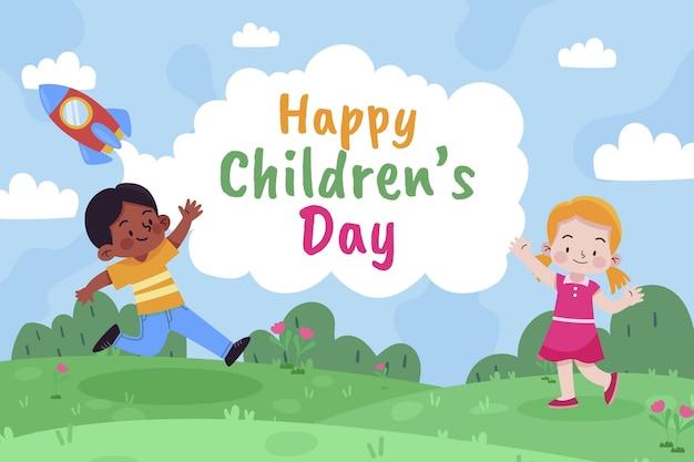 Ручной обращается плоский мир детский день фон