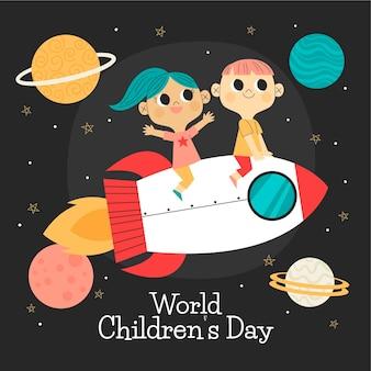 Hand drawn flat world children's day background