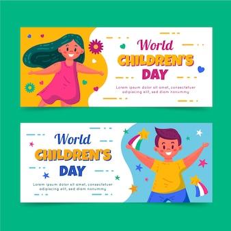 Set di banner orizzontali per la giornata mondiale dei bambini piatti disegnati a mano Vettore gratuito