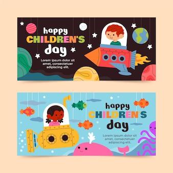 Hand drawn flat world children's day horizontal banners set