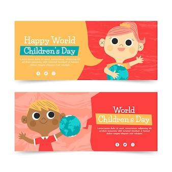 Set di banner orizzontali per la giornata mondiale dei bambini piatti disegnati a mano