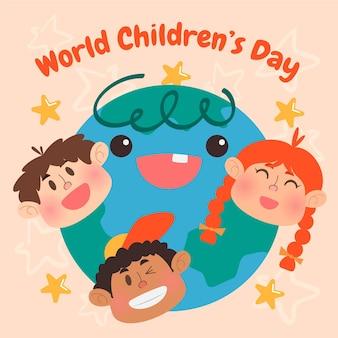 손으로 그린 평면 세계 어린이 날 그림
