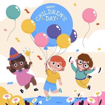 Illustrazione piatta disegnata a mano per la giornata mondiale dei bambini