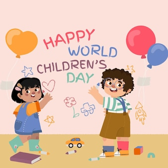 Hand drawn flat world children's day illustration
