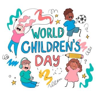 Нарисованная рукой иллюстрация дня детей плоского мира