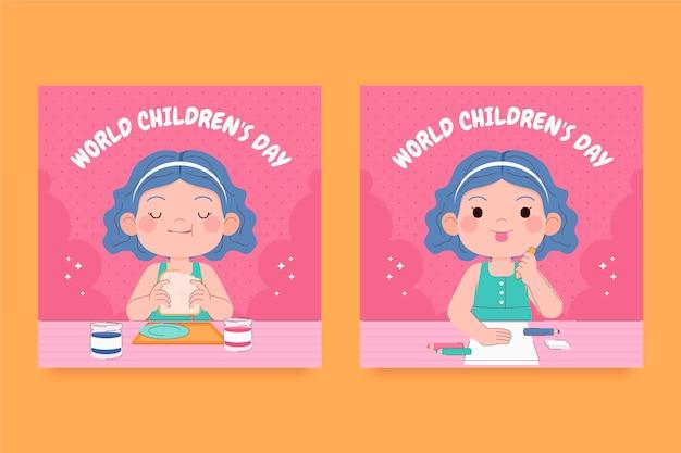 Hand drawn flat world children's day instagram posts collection