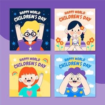 손으로 그린 평면 세계 어린이 날 인스 타 그램 게시물 모음
