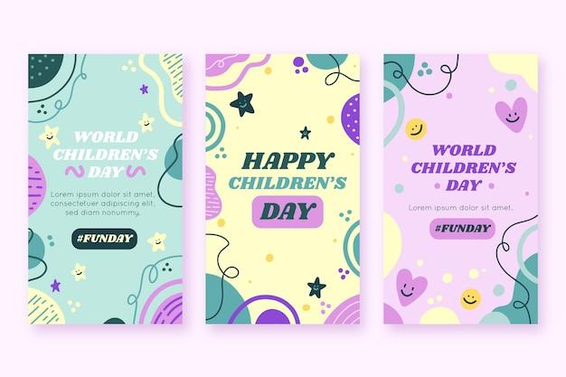 손으로 그린 평평한 세계 어린이 날 인스 타 그램 스토리 컬렉션