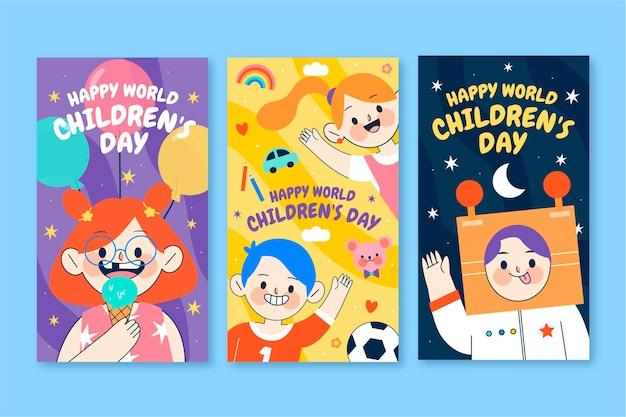 Hand drawn flat world children's day instagram stories collection
