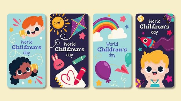 Collezione di storie di instagram per la giornata mondiale dei bambini disegnata a mano