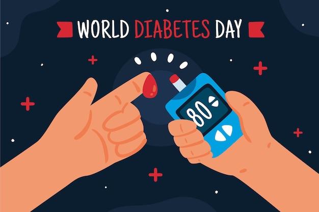 Hand drawn flat world diabetes day background