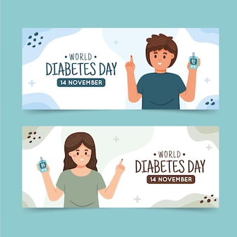 Hand drawn flat world diabetes day horizontal banners set