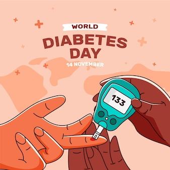 손으로 그린 평면 세계 당뇨병의 날 그림