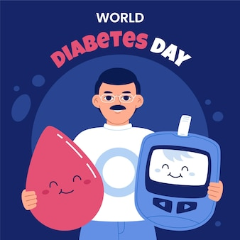 Hand drawn flat world diabetes day illustration