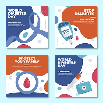 Hand drawn flat world diabetes day instagram posts collection