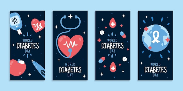Hand drawn flat world diabetes day instagram stories collection
