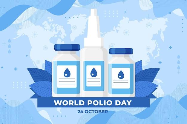 手描きのフラットな世界のポリオの日の背景