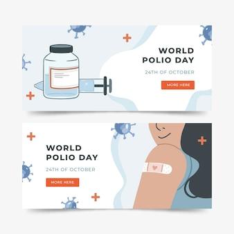 Набор рисованной плоский всемирный день полиомиелита горизонтальные баннеры