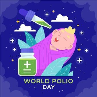 手描きフラット世界ポリオの日のイラスト