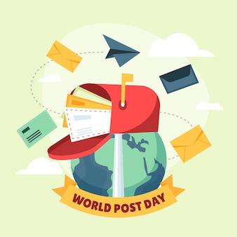 手描きのフラットな世界郵便の日イラスト