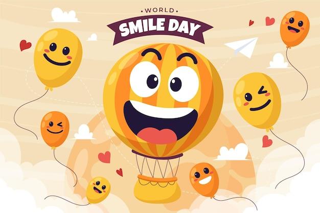手描きフラット世界笑顔の日の背景