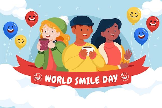 Hand drawn flat world smile day background