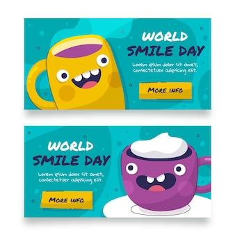 Hand drawn flat world smile day horizontal banners set