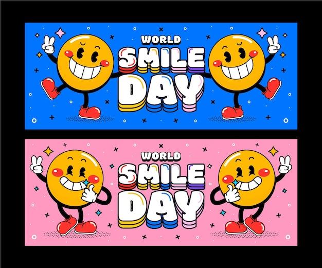 Set di banner orizzontali disegnati a mano per la giornata mondiale del sorriso piatto