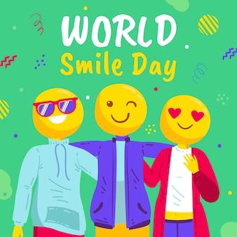 Нарисованная рукой плоская иллюстрация дня улыбки мира