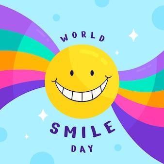 Hand drawn flat world smile day illustration
