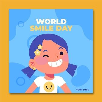 손으로 그린 평면 세계 미소의 날 인스 타 그램 포스트 템플릿