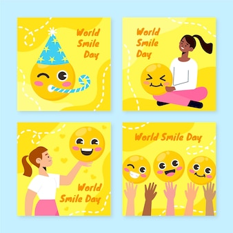 Hand drawn flat world smile day instagram posts collection