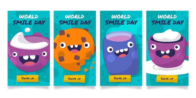 Hand drawn flat world smile day instagram stories collection
