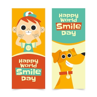 Set di banner verticali per la giornata mondiale del sorriso piatto disegnato a mano