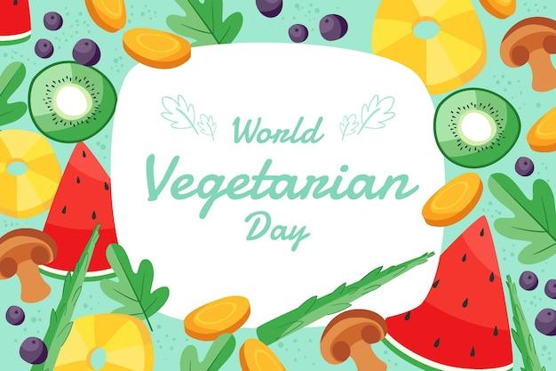 Hand drawn flat world vegetarian day background