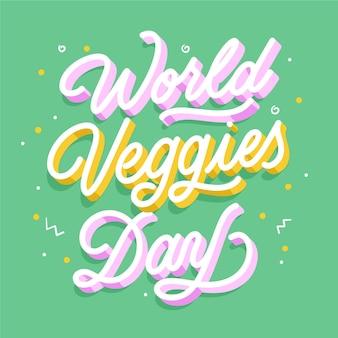 Iscrizione di giorno vegetariano piatto mondo disegnato a mano