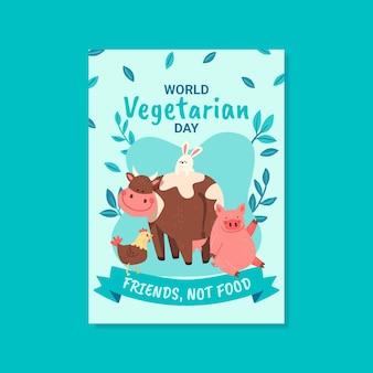 Ручной обращается плоский мир вегетарианский день вертикальный плакат шаблон
