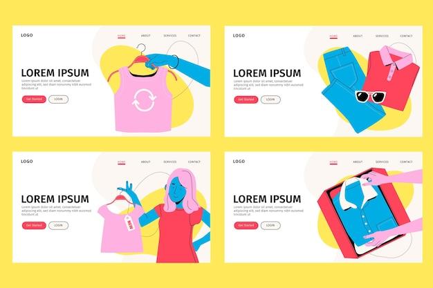 Нарисованная рукой целевая страница обмена одеждой на блошином рынке