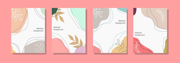 Hand drawn floral abstract card for social media post and poster