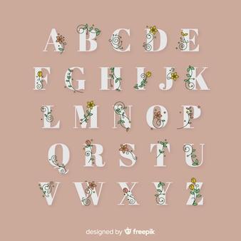 Hand drawn floral alphabet